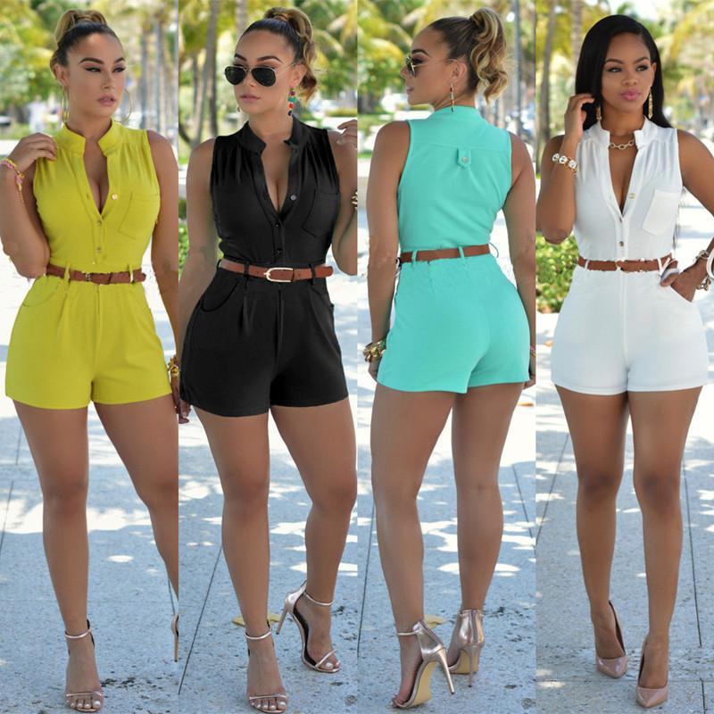 2019年 wish欧美性感夏季跨境爆款女装 修身休闲连体裤 含腰带