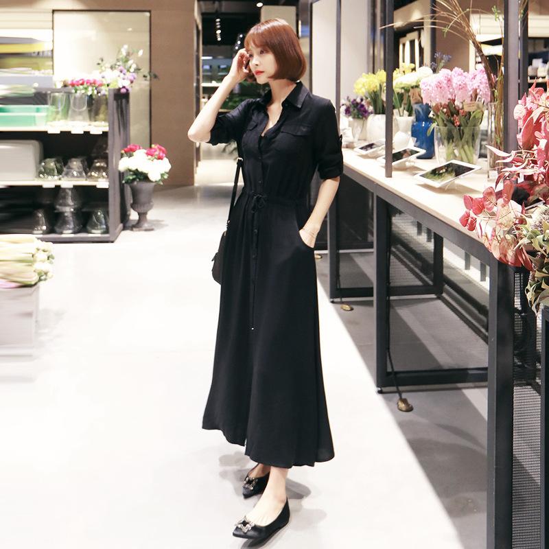 2018春秋装新款韩版职业ol黑色气质衬衫连衣裙女显瘦长袖长裙