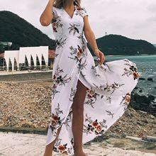 2019亚马逊爆款女装V领印花雪纺性感开叉沙滩海边度假长裙连衣裙