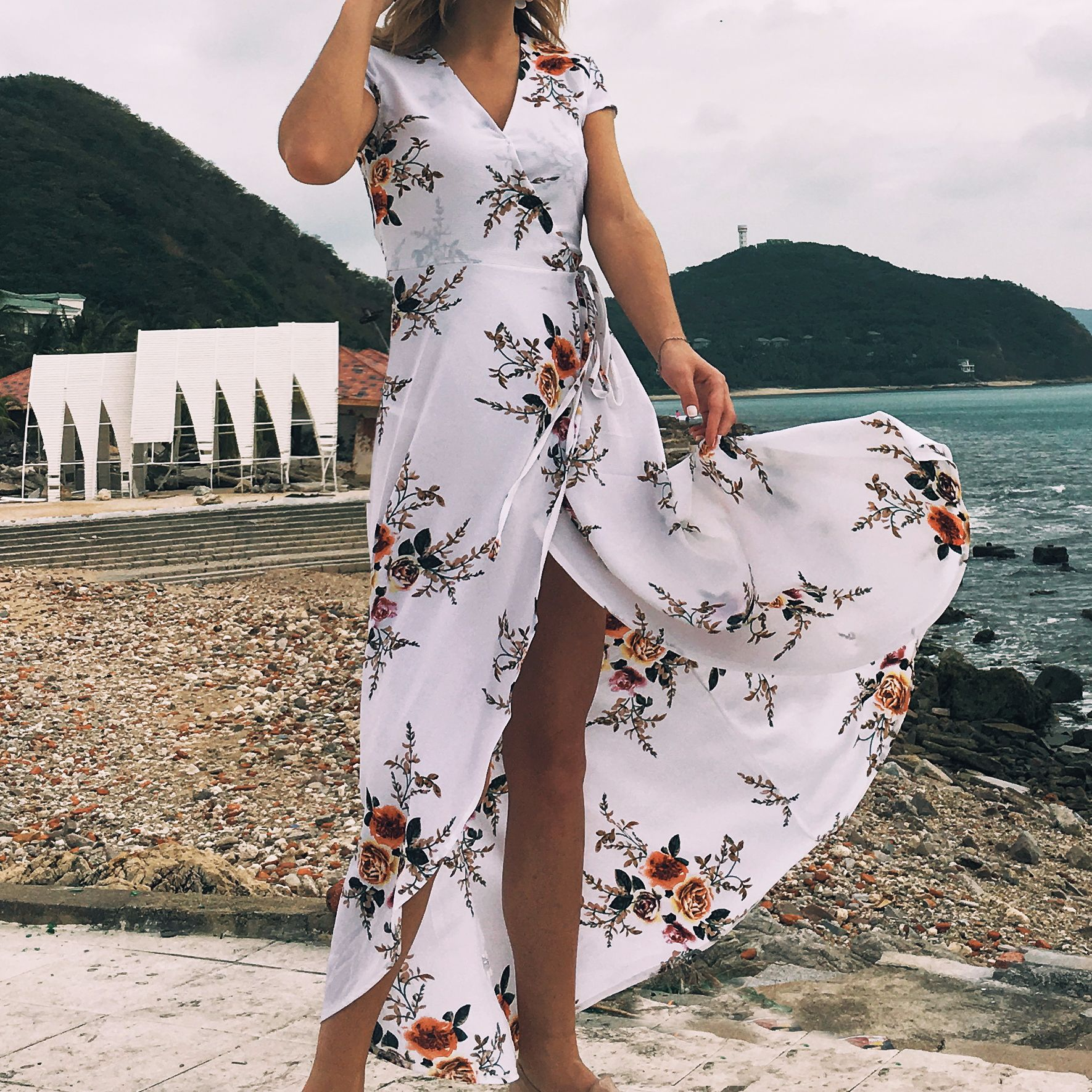 2019 Amazon Explosion Women's V-neck Print Chiffon Sexy Split Beach Beach Holiday Dress Dress