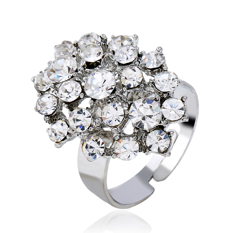 Alloy Korea Flowers Ring  (White K white) NHKQ1849-White-K-white