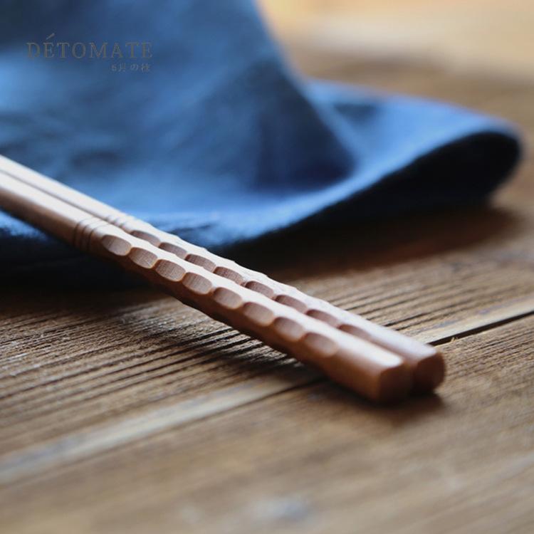 厂家直销 印尼铁木尖头筷 半身刻龟甲三线筷 木质日常家用筷子