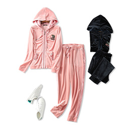 18 autumn new retro sports style nail drill hooded jacket + elastic waist casual pants velvet two-piece female