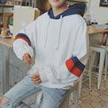 冬季加绒加厚连帽卫衣男士套头宽松外套韩版潮流青少年学生上衣服