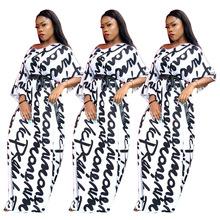 D9070 跨境女装亚马逊wish热卖欧美女装 白色字母印花中袖V领长裙