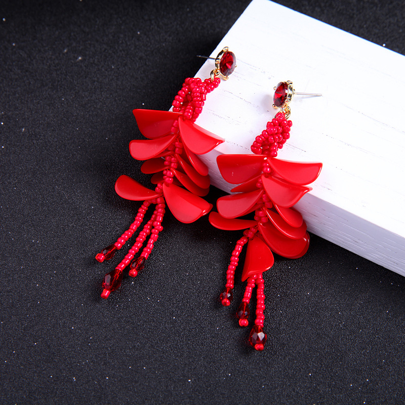 Plastic Fashion Flowers earring(Red-2) NHQD5134-Red-2