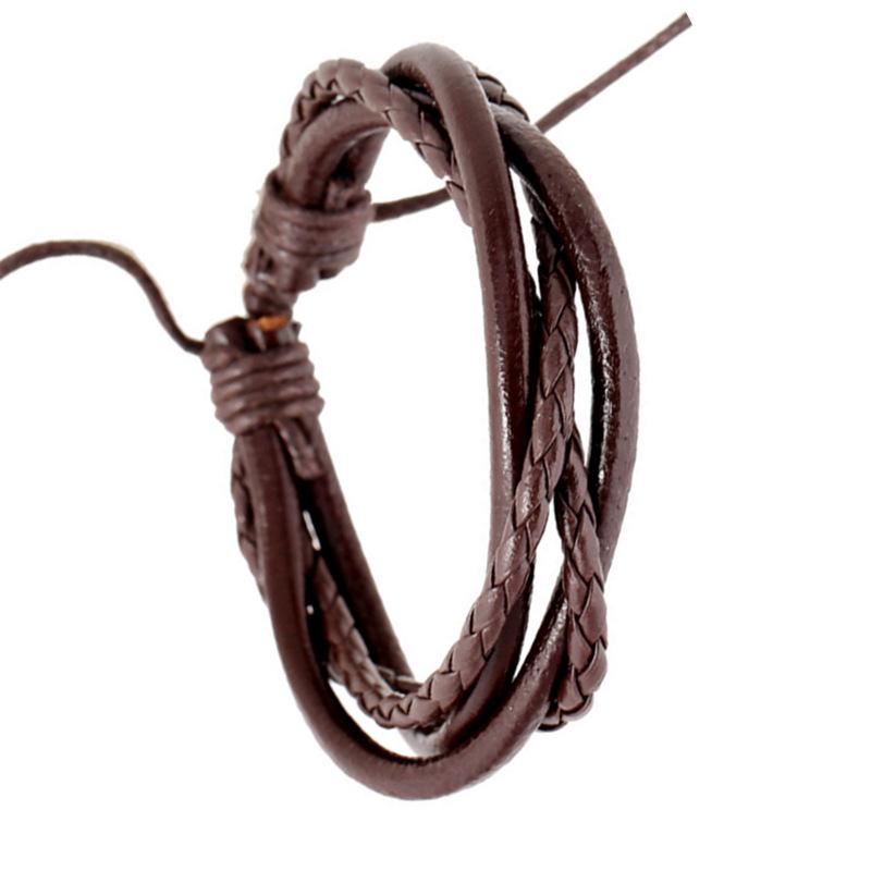 韓版時尚潮手飾男士日韓學生真皮情侶手鏈皮繩編織情侶女手繩首飾