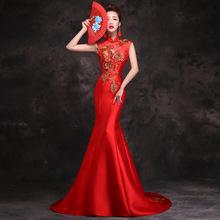 2020夏季新款敬酒服新娘长款鱼尾拖尾修身演出中式旗袍宴会晚礼服