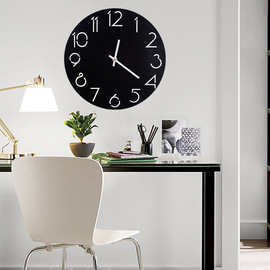 Creative wall clock living room simple modern clock home round personality bedroom quiet garden solid wood clock