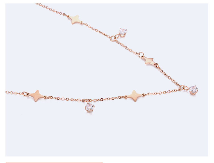 Stainless steel chain necklace gold-plated pendant fashion zircon necklace female accessories NHTF175313