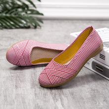 新款平底老北京布鞋牛筋底女鞋媽媽休閑廣場舞蹈鞋一腳蹬淺口單鞋