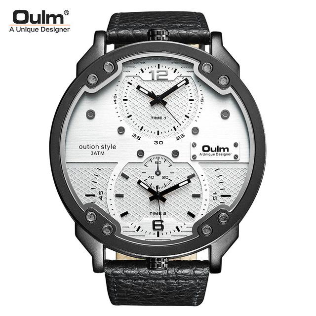 Oulm欧镭厂家男士手表大表盘石英表 超酷时尚双时区皮带手表爆款