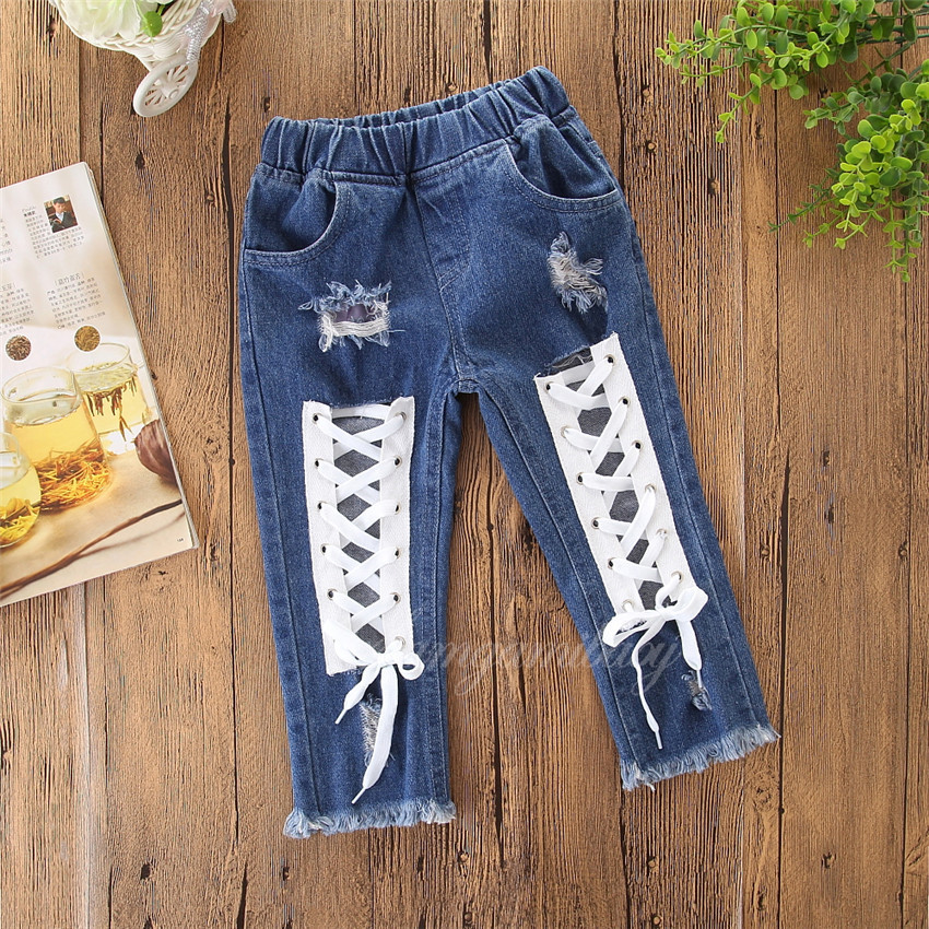 Samgamibaby foreign trade children's wear quick selling ins fashionable girl's bandage personalized Jeans Popular casual pants
