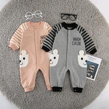 2018秋季新款婴儿衣服婴幼儿长袖宝宝卡通贴布刺绣连体衣开衫爬服
