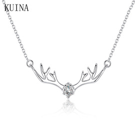 Valentine's Day Necklace S925 Sterling Silver Antler Necklace Stylish Simple Jewelry Elk Female Clavicle Chain