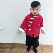 兒童新年套裝 2019冬款中國風天地人和燈芯絨加厚加絨男童唐裝