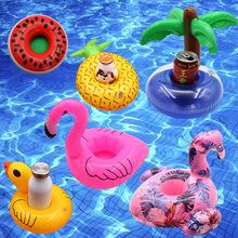 现货PVC充气水上用品 火烈鸟杯垫充气水上漂浮饮料杯托杯座批发