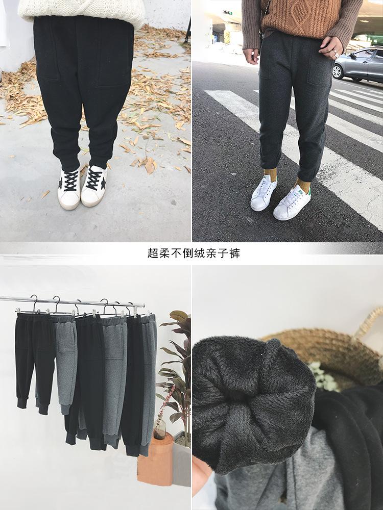2018冬季新款亲子装儿童宝宝休闲裤女童加绒加厚卫衣裤