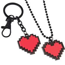 动漫周边红色灵魂心形爱心吊坠项链传说之下3D立体钥匙扣挂件