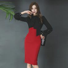春裝女2019新款韓版OL氣質系帶修身鏤空露背中長款包臀連衣裙