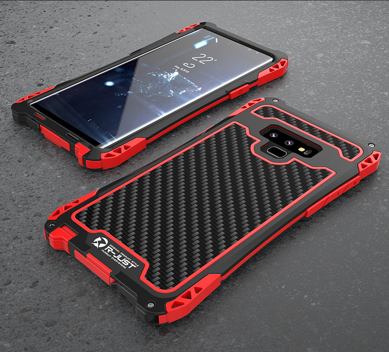 R-Just Amira Heavy Duty Dirtproof Shockproof Rainproof Aluminum Metal Bumper Carbon Fiber Back Cover Case for Samsung Galaxy Note 9