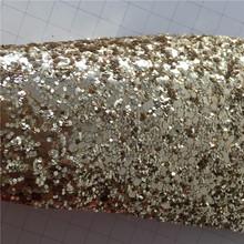 新款K6613皮革人造革面料大小六角亮片金葱粉软身弹力底服装装饰
