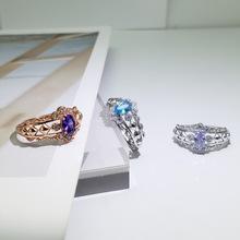 欧美时尚S925纯银戒指女生日礼物水晶彩宝饰品批发一件代发CJ020