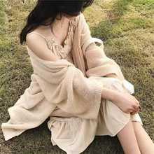2018秋季新款女式针织衫毛衣披肩透明薄款空调衫中长款防晒开衫女
