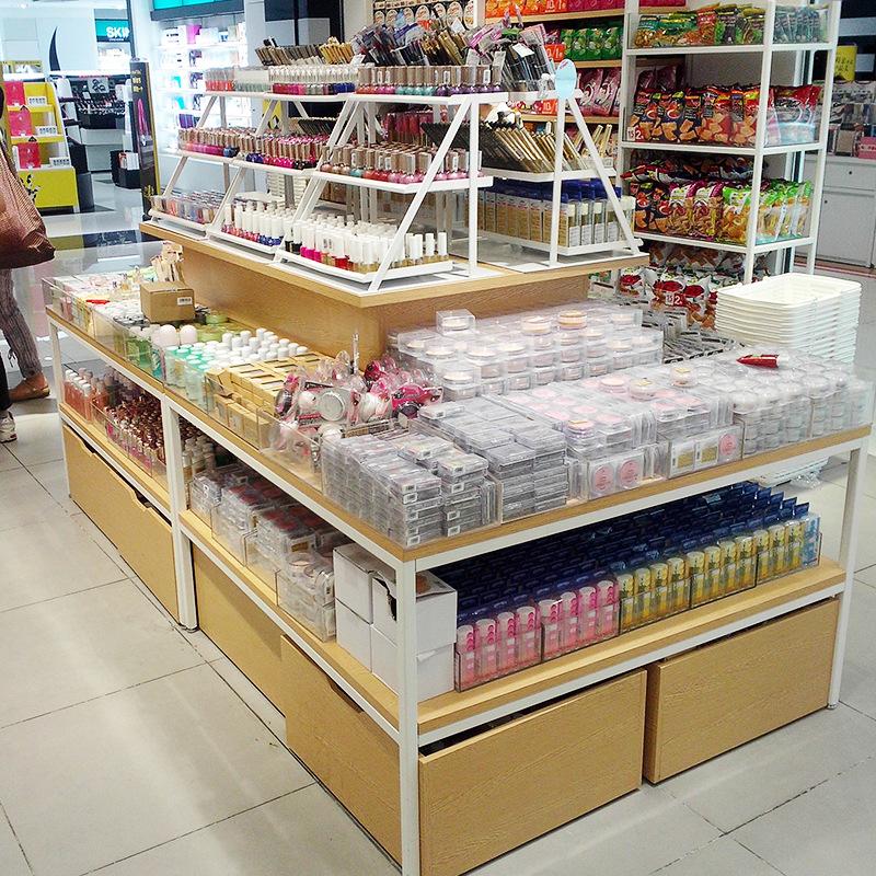 木质桌组合小超市四面货架多层透明格子精品货架展示架