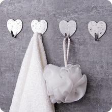 创意厨房304不锈钢爱心挂钩 免打孔浴室门后无痕免钉心形金属粘钩