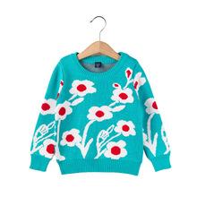 特价清仓欧美风童毛衣中小童女童装套头卡通花朵长袖上衣针织毛衣