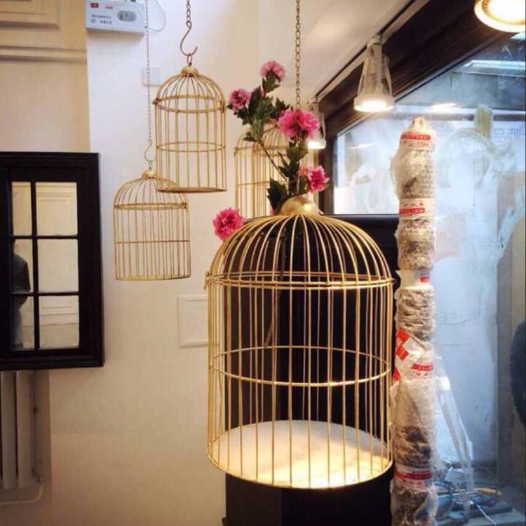 简美欧式复古铁艺鸟笼花架鸟笼装饰鸟用具摆设阳台户外装饰特价