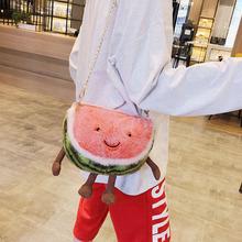 新款ins网红超萌西瓜樱桃布娃娃儿童玩偶韩国毛绒玩具公仔包包