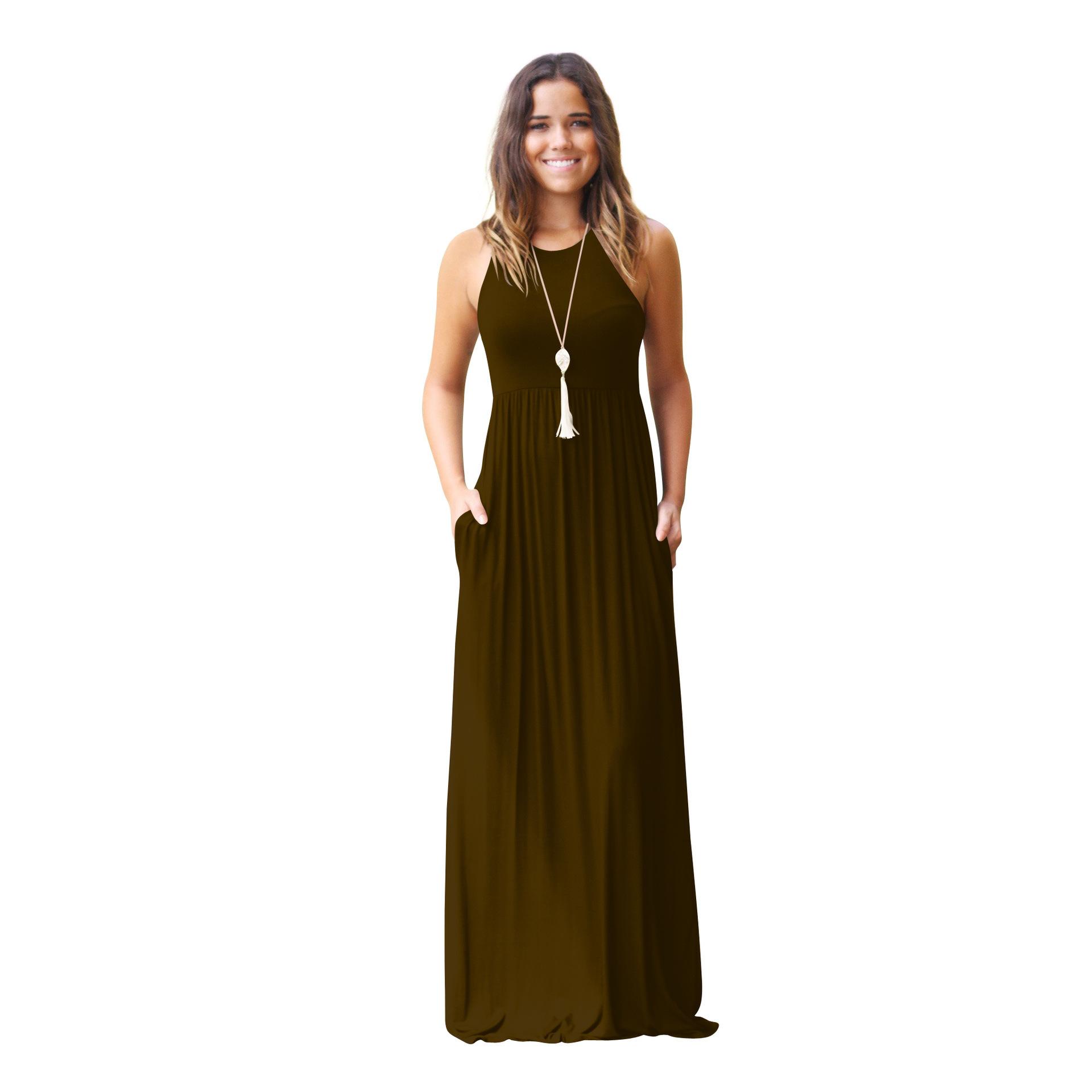 1b16f7a6d216 Dresses Women Maxi Casual Dress Sexy Sleeveless Dress Round Collar ...
