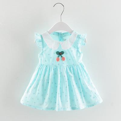 Mùa hè cô gái váy 1-4 tuổi bé gái bông ve áo cherry ăn mặc trẻ sơ sinh trai bông váy bán buôn
