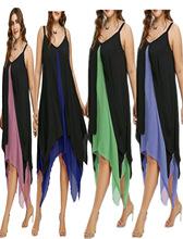 2018夏装新款 大码女装 假两件套 ?#36824;?#21017;下摆 欧美吊带连衣裙