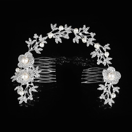 New bride hair comb wedding accessories pearl rhinestone bridal tiara beautiful hair accessories crown