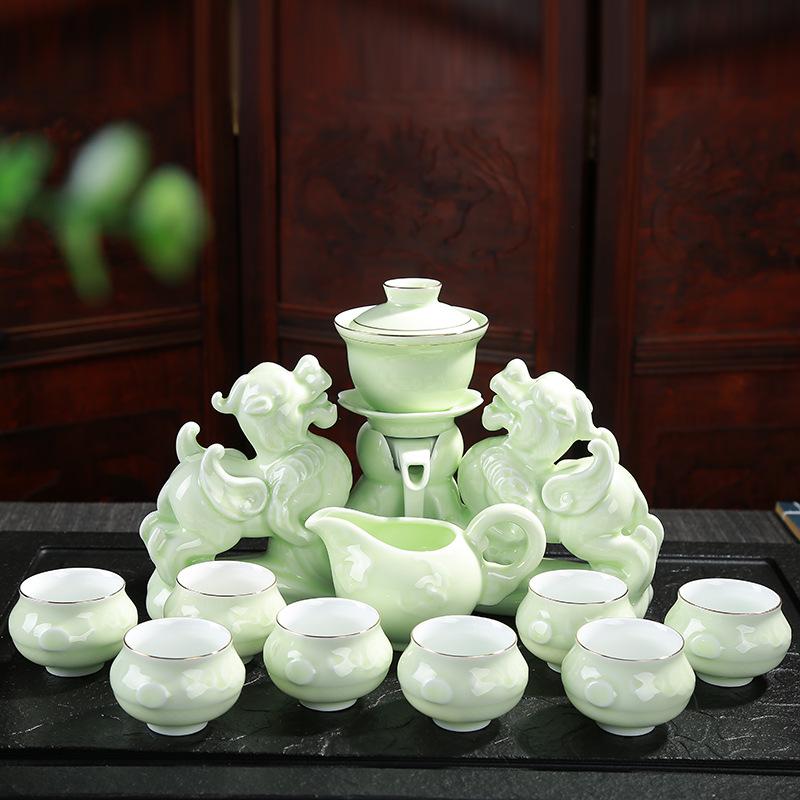 茶具套装 家用紫砂简约全半自动懒人功夫喝泡茶器陶瓷茶壶杯整套