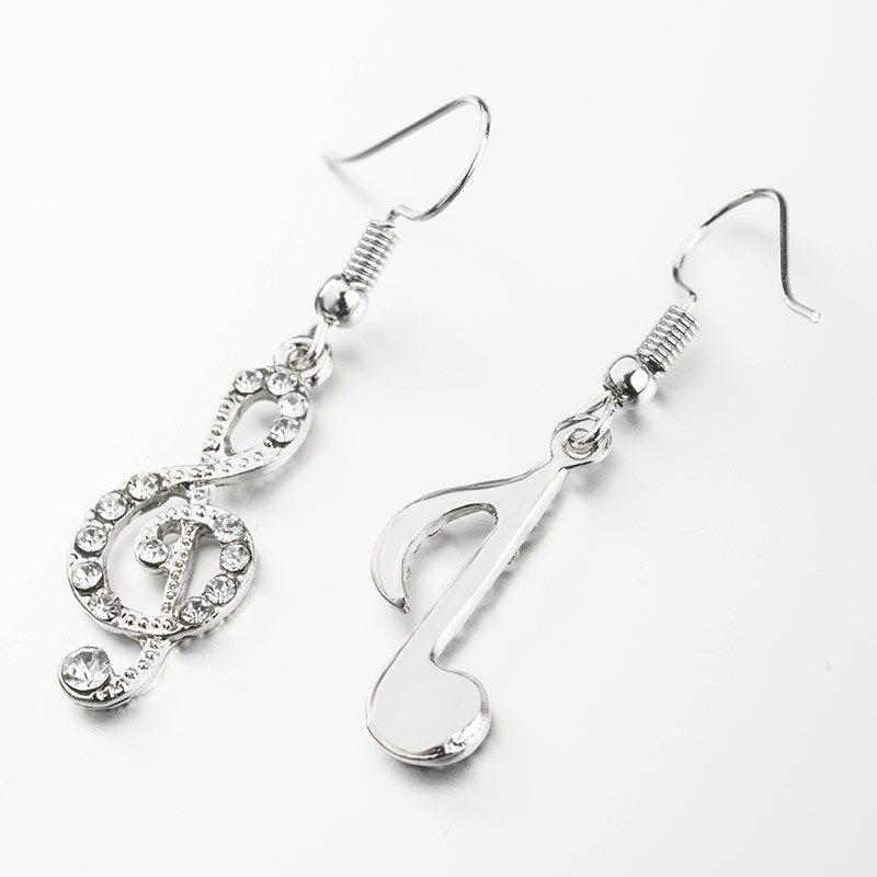 Asymmetrical earrings with diamond notes student girl shine personality music symbol jewelry NHDP203042