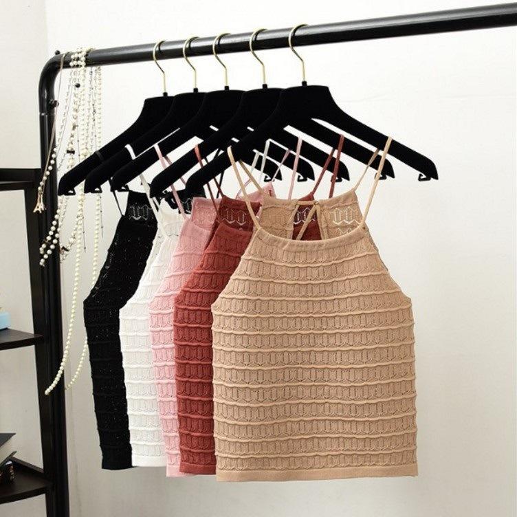 夏季新款复古港味性感抽绳短款修身显瘦百搭吊带背心女打底外穿女