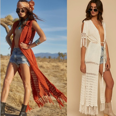 Knitted tassel tunic beach long dress swimsuit bathing suit cover up robe sexy hollow cardigan holiday gown bikini cover outer blouse