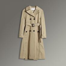 简约休闲纯棉纯色女士风衣18秋季修身系带双排扣加长款外套