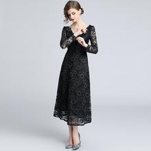 欧美女装秋装新款 黑色前后大V领长袖蕾丝裙 极简主义长款小黑裙