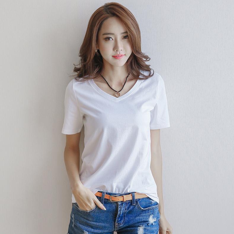 2019新款夏季短袖白色V领t恤女士宽松纯白打底衫棉质韩版上衣体恤