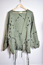 秋装新款女装个性大码宽松灯笼袖毛衣女中长款针织开衫蝙蝠外套潮