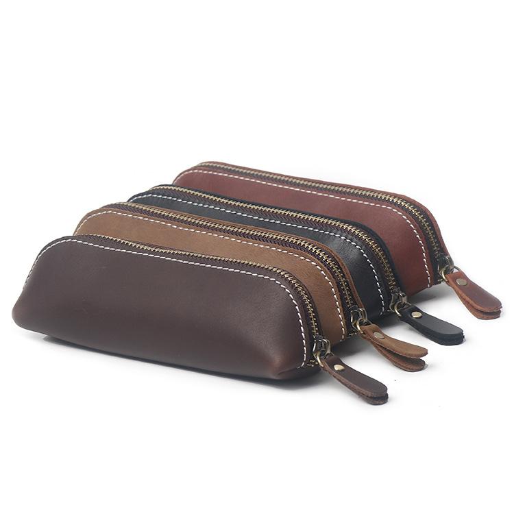工厂直销新款手工头层疯马牛皮学生笔袋真皮办公文具袋简约钥匙袋