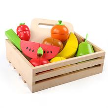 木制儿童早教过家家积木玩具木盒装仿真水果切切看游戏蔬菜切切乐