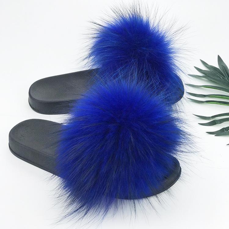 厂家现货可定制新款毛毛鞋浣熊貉子毛皮草狐狸毛拖鞋女跨境欧洲站