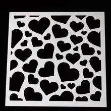 大小爱心四方形塑料拉花模具蛋糕装饰喷花模咖啡拉花儿童手绘模板