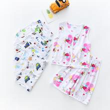 2018外贸童装新款夏季男女童套装人造棉儿童的夏天的衣服两件套